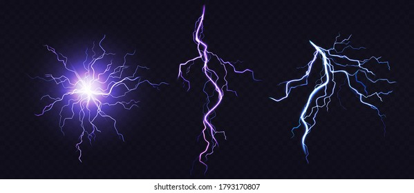 Electric ball and lightning strike, impact place, plasma sphere or magical energy flash of blue and lilac colors isolated on black background. Powerful electrical discharge, Realistic 3d vector set