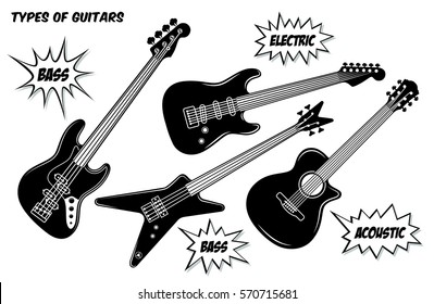 Electric, bass and acoustic guitar with 6 and 4 strings. Vector black and white silhouette illustration.