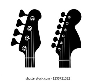 Electric and Bass Guitar Headstock Silhouettes isolated on white background. Vector silhouettes for music shop logo and emblem.