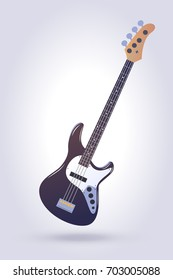 Electric bass guitar isolated on light blue  background