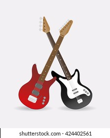 Electric and bass guitar, standing and crossed. Vector illustration