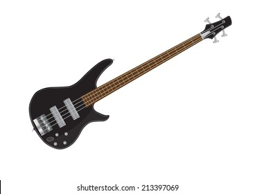 Electric bass guitar vector illustrations