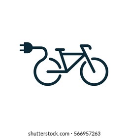 electric bicycle, e-bike icon on white background