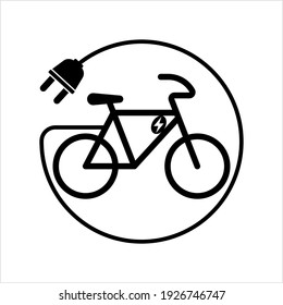 Electric Bicycle Icon, Electric Bike Vector Art Illustration
