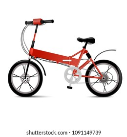 Electric bicycle isolated on white. Modern eco two wheel vehicle for sport or urban city ride. Vector illustration.