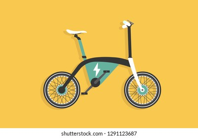 Electric Bike. Bicycle sign for web or print. Background. Vector illustration.