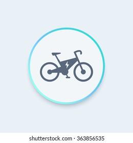 Electric bike round icon, modern ecologic transport, vector illustration