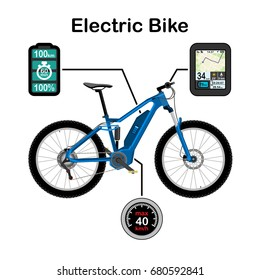 Electric bike vector illustration isolated on white background
