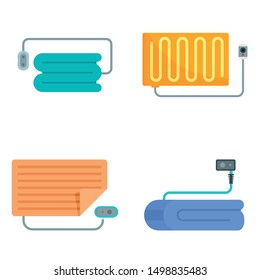 Electric blanket icon set. Flat set of electric blanket vector icons for web design
