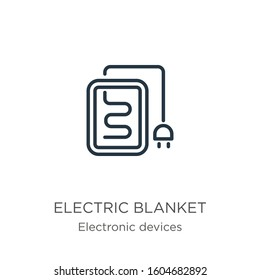 Electric blanket icon. Thin linear electric blanket outline icon isolated on white background from electronic devices collection. Line vector sign, symbol for web and mobile