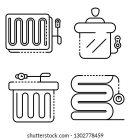 Electric blanket icons set. Outline set of electric blanket vector icons for web design isolated on white background