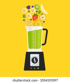 Electric blender mixer machine making detox diet juice with fruit apple banana kiwi strawberry gooseberry melon and pineapple. Healthy morning breakfast nutrition concept. Vector flat cartoon isolated