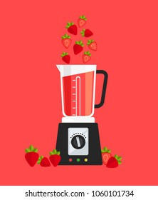 Electric blender mixer machine tool making detox diet juice with fruit strawberry berry. Healthy lifestyle morning energy breakfast nutrition concept. Vector flat cartoon isolated banner