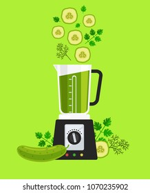 Electric blender mixer machine tool making detox diet juice with vegetable sliced cucumber parsley and dill. Healthy lifestyle morning energy breakfast nutrition concept. Vector flat graphic design