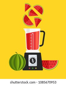 Electric blender mixer machine tool making detox diet juice watermelon sliced. Healthy lifestyle morning energy breakfast nutrition concept. Vector flat cartoon design graphic isolated illustration