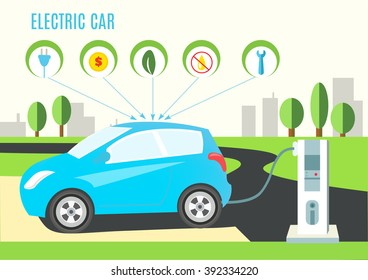 Electric Blue Hybrid Car Charging Illustration on the Road and City Landscape. Icons with plug, money, eco, oil and wrench. Vector flat style infographic.