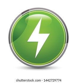 Electric bolt icon isolated on elegant green round button vector illustration