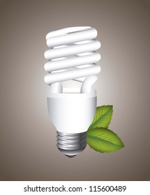electric bulb with leaves over brown background. vector illustration