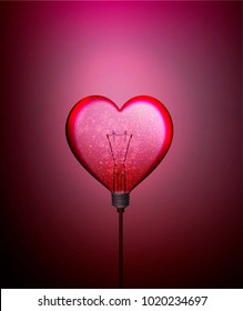 Electric bulb looks like valentine heart, electricity of love and passion, love energy,  valentine concept, vector