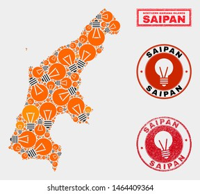 Electric bulb mosaic Saipan Island map and rubber rounded seals. Mosaic vector Saipan Island map is composed with electric lamp icons. Abstraction for patent business. Orange and red colors used.