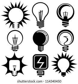 electric bulb symbols and icons set