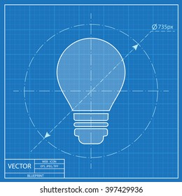 electric bulb vector blueprint icon
