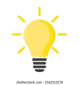 electric bulb, yellow, flat design, vector