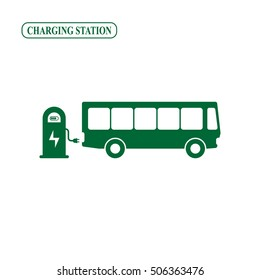 Electric bus charging station icon