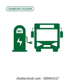 Electric bus charging station vector icon