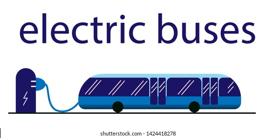 Electric bus in the city on recharging the battery at the bus stop. Eco-friendly bus powered by electricity. Public transport is safe and eco. Text above. White background