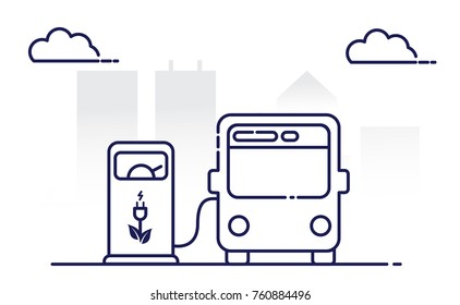 Electric bus and Electrical charging station symbol, Vector illustration