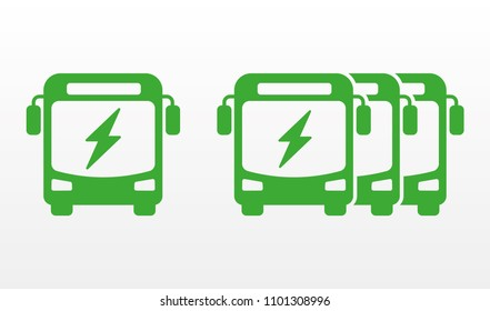 Electric bus and bus fleet flat icons