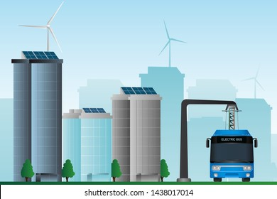Electric bus on the street of the city that uses clean energy. Vector illustration EPS 10