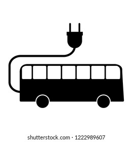 Electric bus sign on white background. Vector illustration