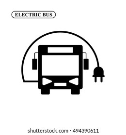 Electric bus vector icon