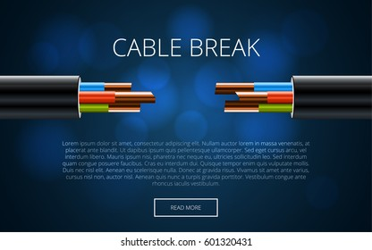 Electric cable break. Copper electrical cable in multi-colored insulation. Three-core cable on a dark background. Presentation Template