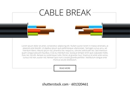 Electric cable. Copper electrical cable in multi-colored insulation. Three-core cable on a white background. Presentation Template
