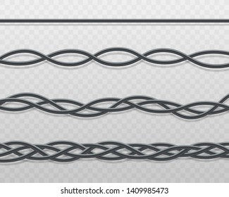 Electric cable or cord twisted beautiful pattern and knots border 3d realistic vector illustration isolated on transparent background. Decorative frame element.