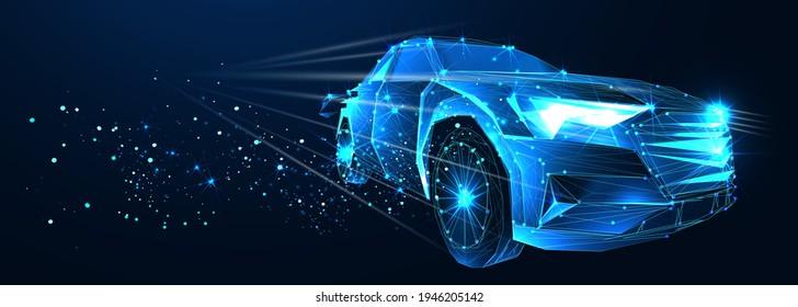 Elektroauto. Abstrakter Vektor 3d-Hochgeschwindigkeitswagen. Autobahn. Einzeln auf dunkelblauem Hintergrund. Digital futuristische Polygonal Low-Poly-Mesh-Illustration