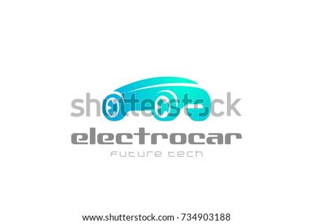 6cde6da6ed Electric Car Auto Logo design vector template. Green Eco Vehicle  alternative power Logotype concept icon