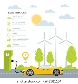 Electric car background infographics