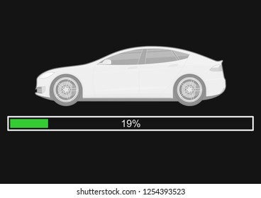 Electric car with battery status indicator. Electromobility concept. Side view. Flat vector.