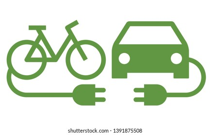 Electric car and electric bike icon isolated on white background