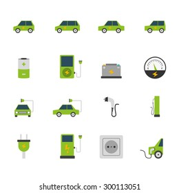 Electric car bus charging station and socket green flat color icon set isolated vector illustration