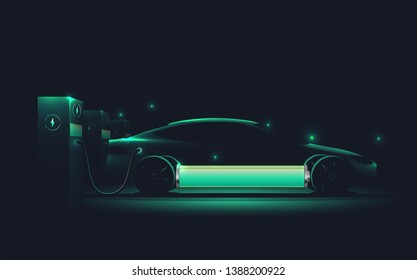 Electric car charging at charge station. Electromobility e-motion concept. Electro car silhouette. Realistic vector illustration. - Shutterstock ID 1388200922
