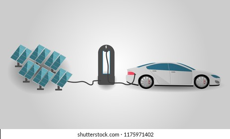 Electric Car Charging at the Charger Station Using Rrenewable Energy. Electromobility e-motion and renewable energy concept.