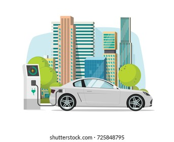Electric car charging from charger station near city vector illustration, concept of eco city with modern automobile, flat cartoon style