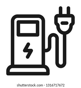 Electric car charging icon. Ecology symbol. Line style