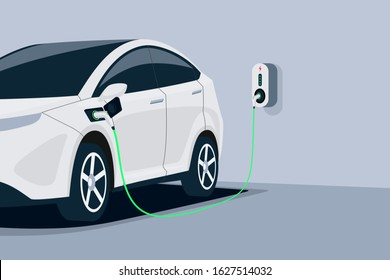 Electric car charging. Car is plugged to charger station in underground home garage . Battery EV vehicle standing parking lot connected to wall box. Close up vector being charged with power supply socket.