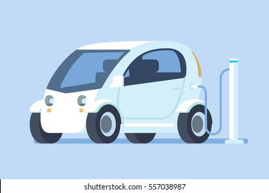 Electric car charging at a power station. Vector illustration